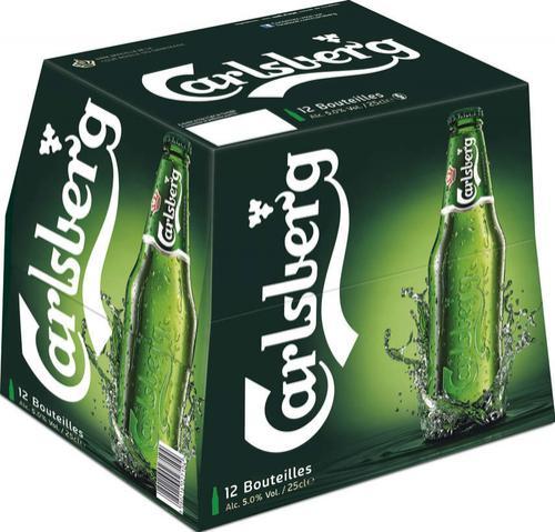 Pack de 12 bouteilles de Carlsberg 25cl + 2 Verres gratuits (via bon de réduction)
