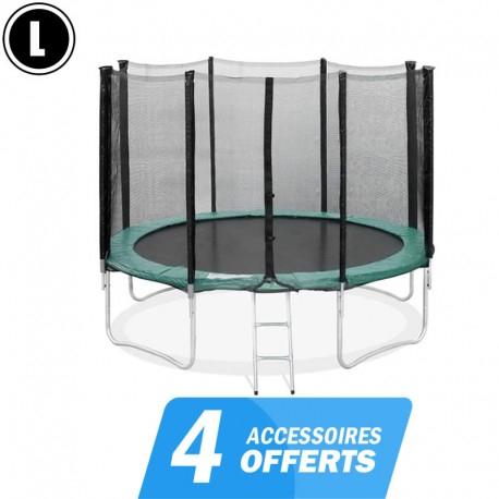 Trampoline 370cm  FlyJump avec filet et accessoires - flyjump-trampoline.com
