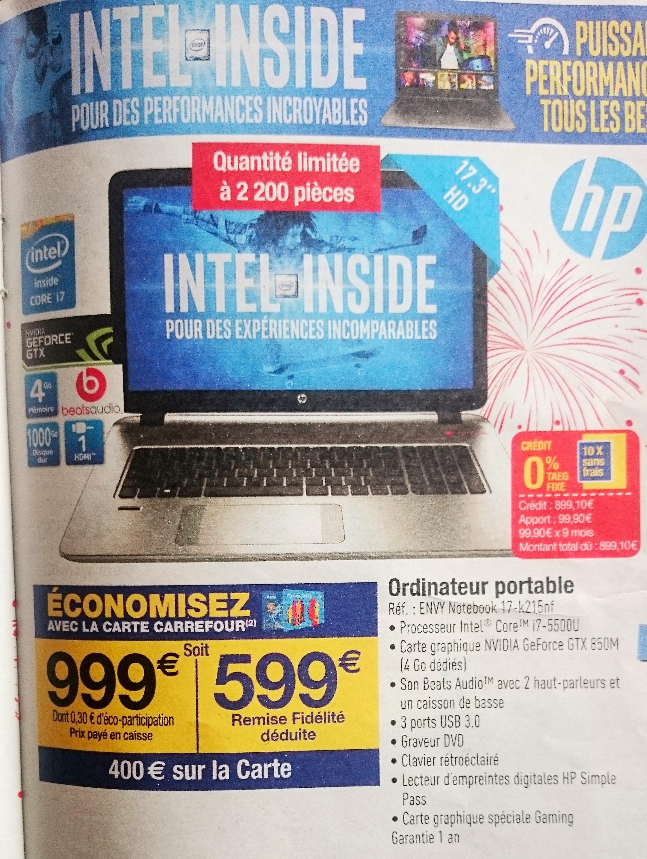 """PC Portable 17.3"""" HP Envy 17-k215nf (Avec 400€ sur la carte)"""