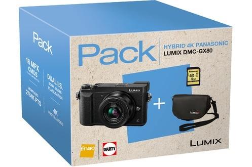 Appareil Photo Hybride Panasonic Lumix DMC-GX80 + Objectif 12-32mm + Housse + Carte SD 8 Go