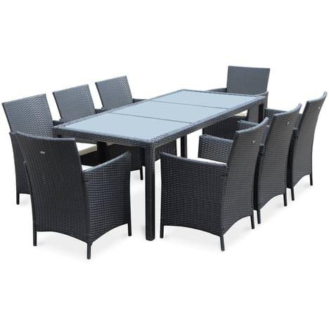 Salon de jardin Alice\'s Garden Tavola - 8 fauteuils Noir en résine ...