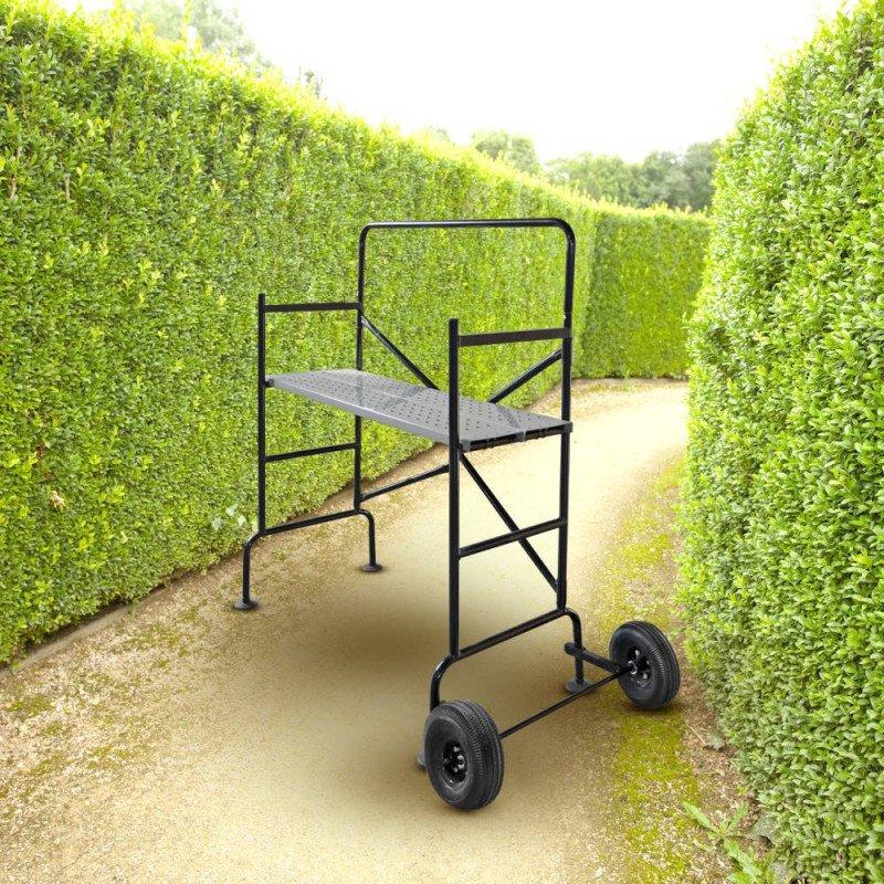 Échafaudage de jardin roulant avec garde-corps