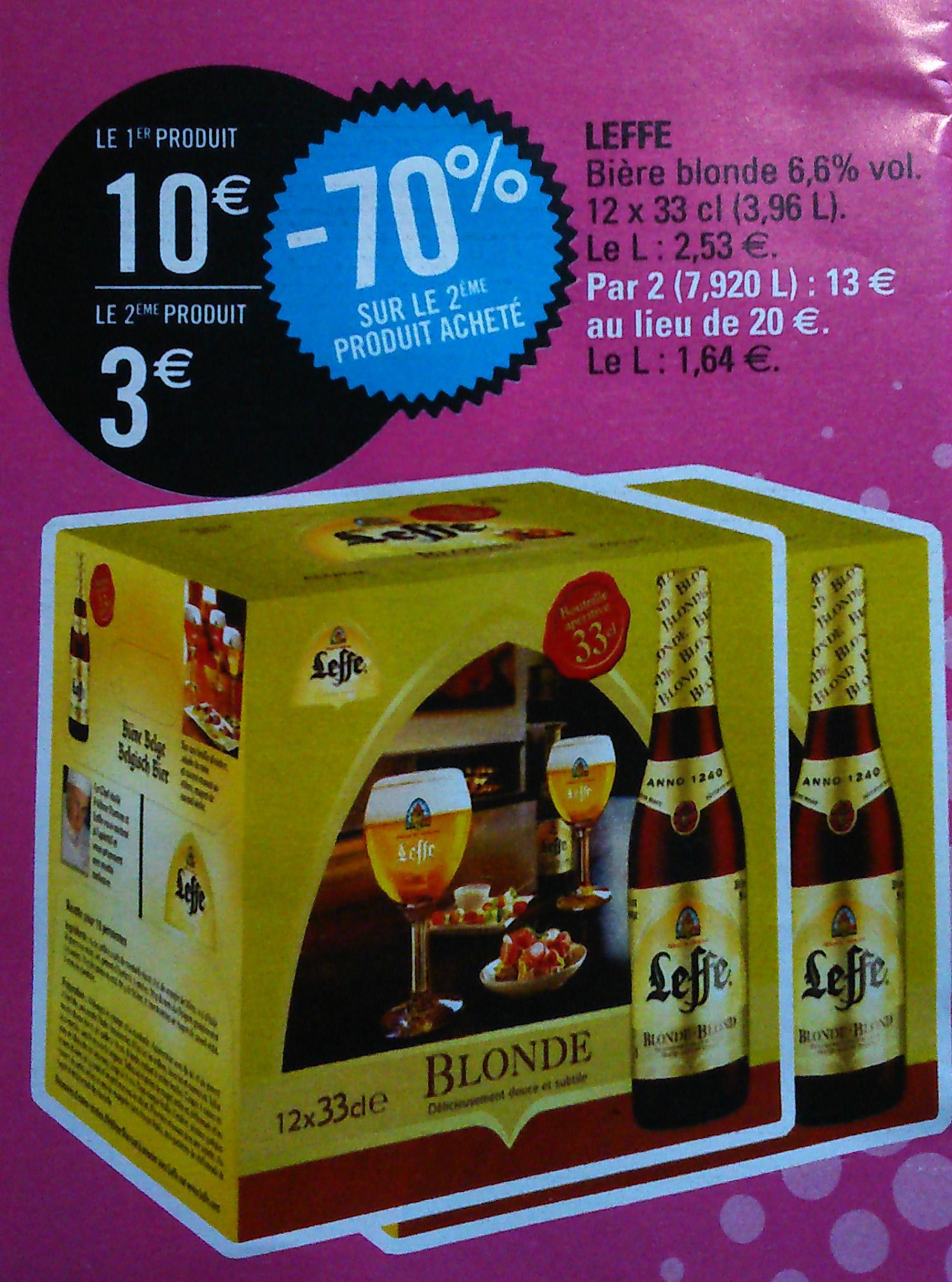 Sélection d'alcool :  bière Leffe et Hoegaarden et whisky William Peel et vodka Smirnoff