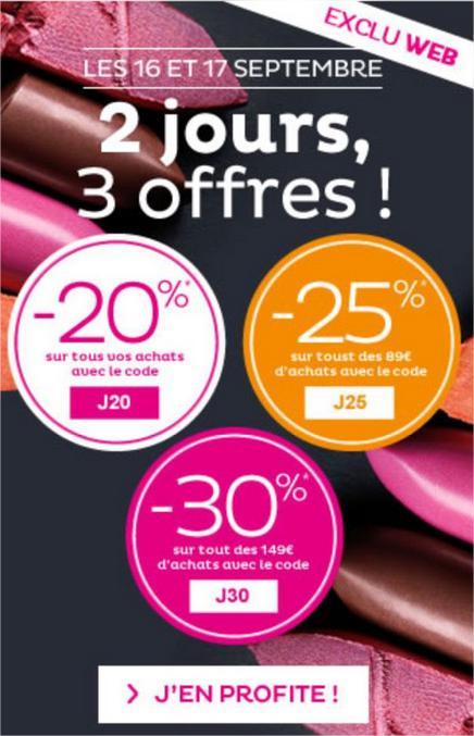 -20% sans minimum d'achat, -25€ dès 89€ et -30% dès 149€