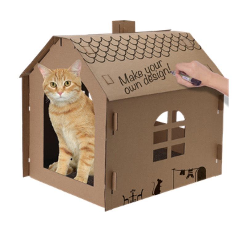 Maison pour chat, en carton à monter soi-même et à décorer avec griffoir + herbe à chat