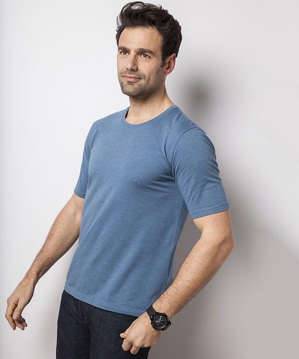 T-Shirt Col Rond Bleu Acier en Coton pour Hommes - Tailles au choix