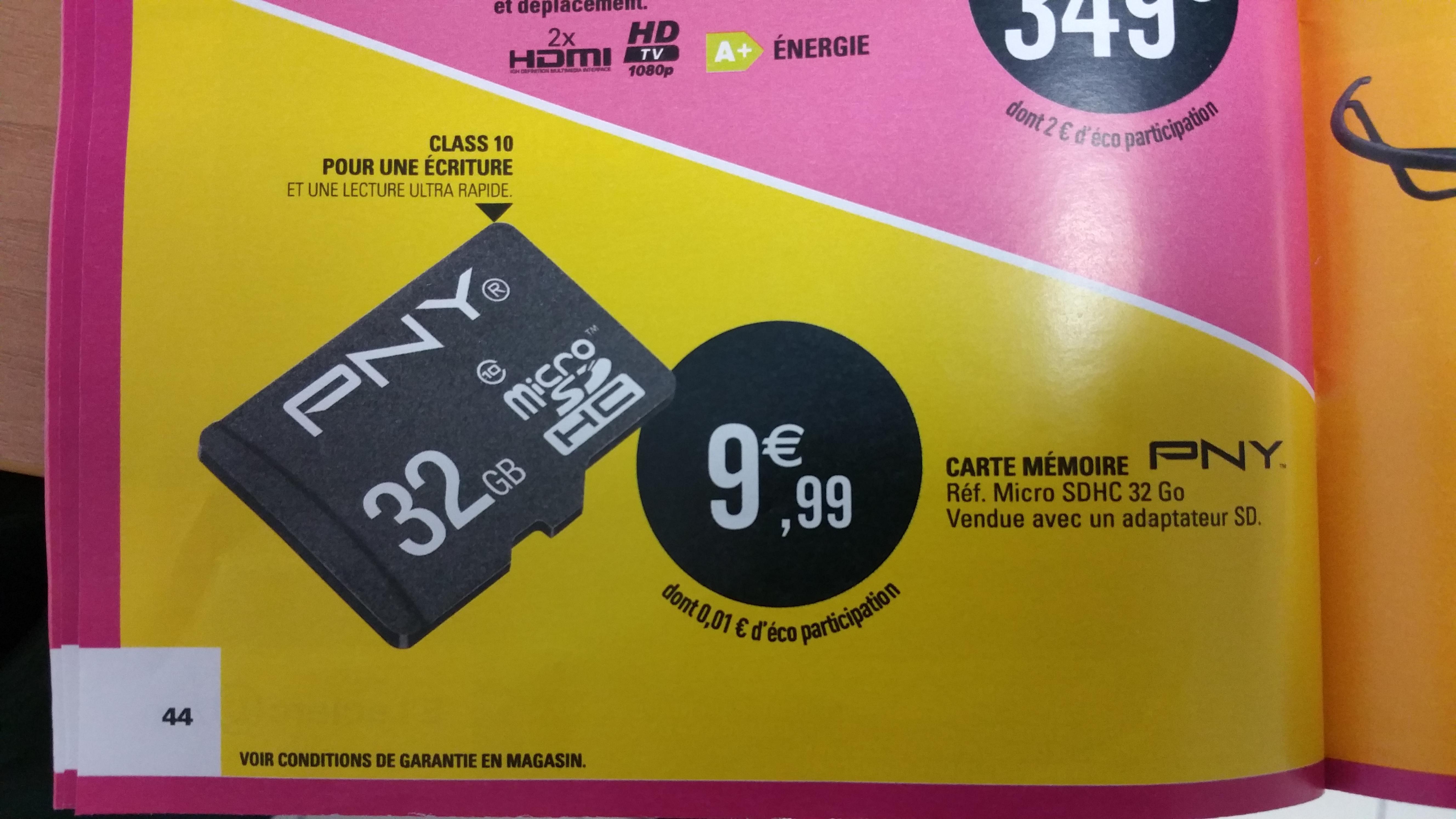 Carte micro SDHC PNY 32Go Classe 10 + Adaptateur