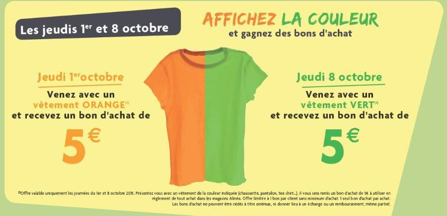 Bon d'achat de 5€ offerts selon la couleur de vos vetements le 1er et 8 octobre