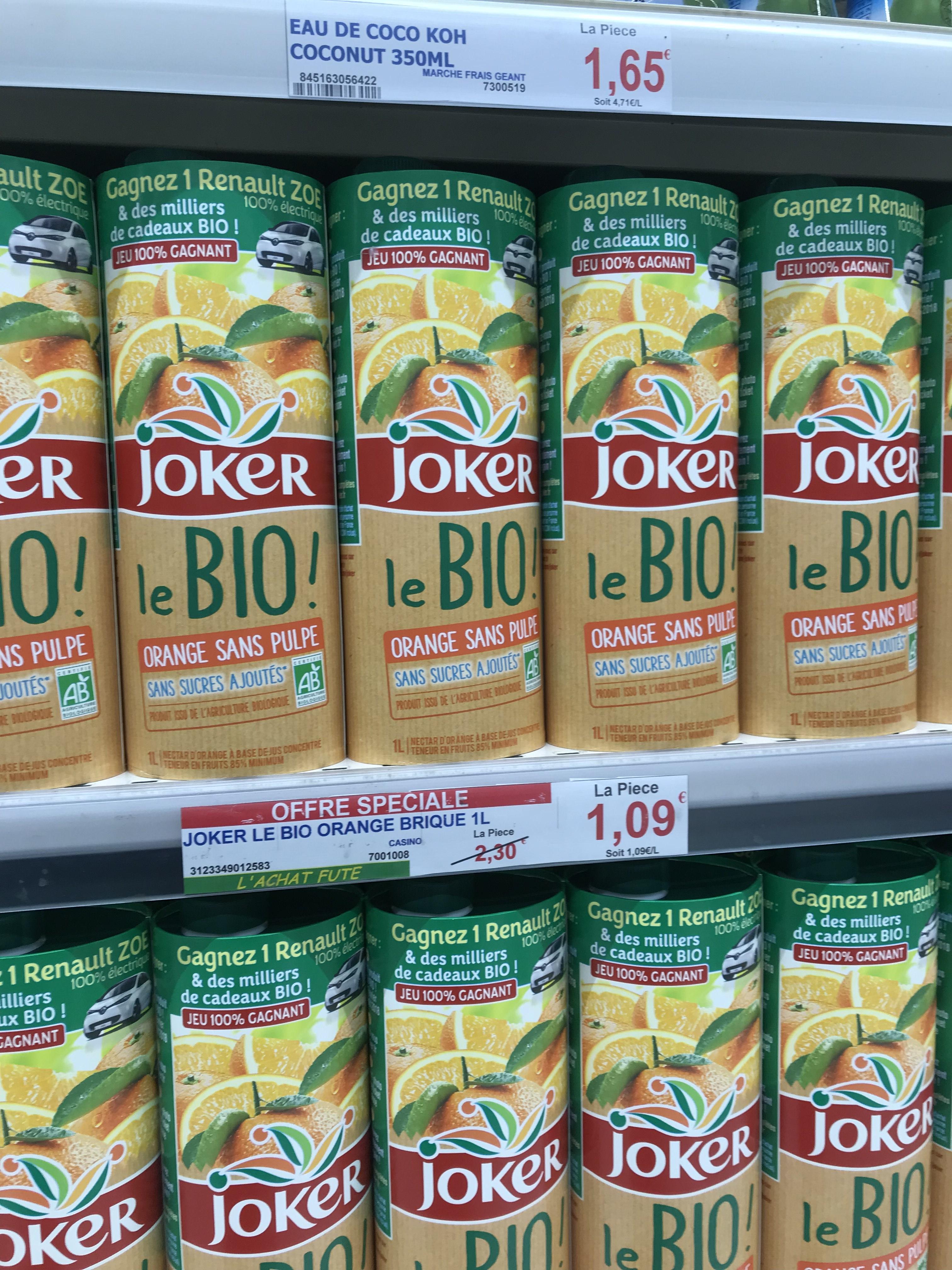 Jus d'orange (à base de jus concentré) Bio Joker - 1L - Persan (95)