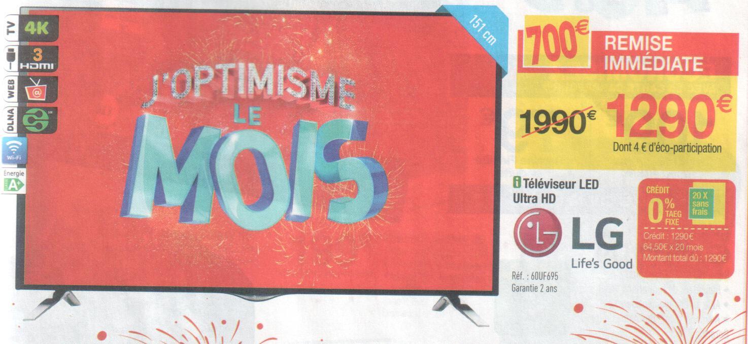 "TV 60"" LG 60UF695V 4K - Smart TV (avec ODR de 100€)"