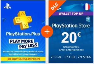 Pack PS Plus 90 Jours + Carte PSN - 20€ (Dématérialisé - FR)