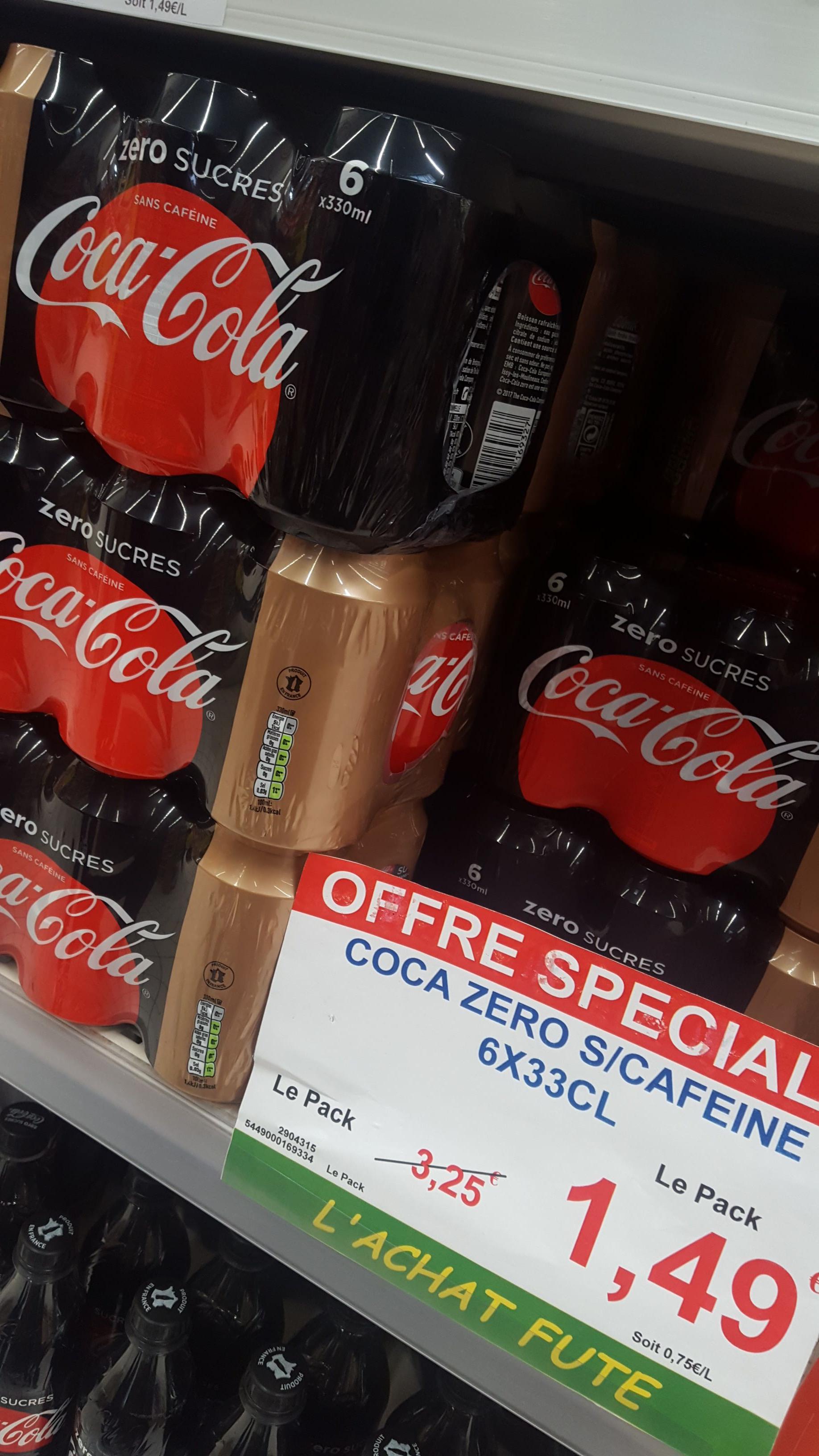 Pack de 6 canettes de Coca Cola Zero de 33Cl - Chamblt (60)