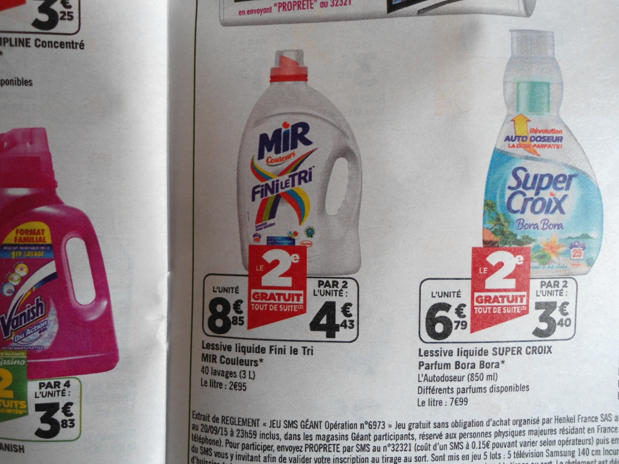 2 Bidons de Lessive Mir Couleur Fini Le Tri - 2x40 lavages 3L (via BDR)