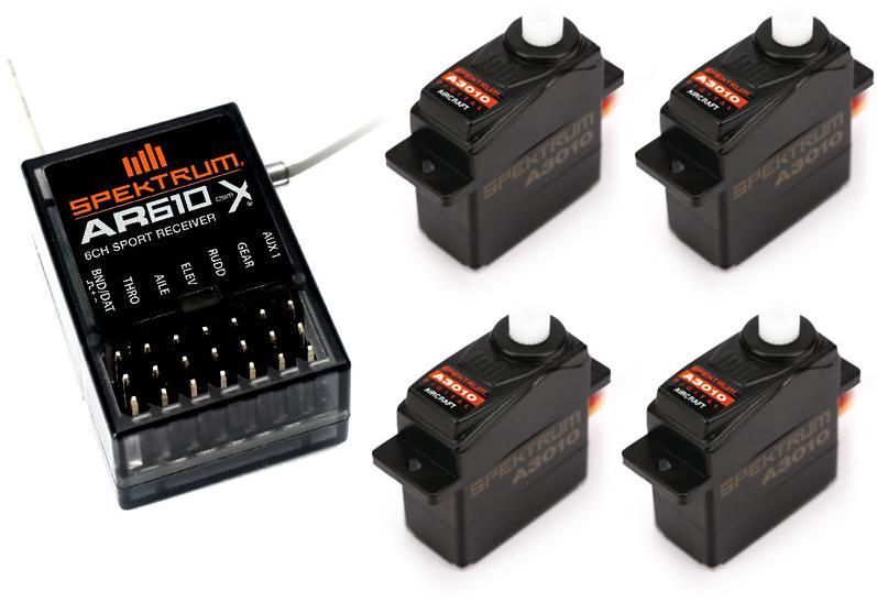 Récépteur 6 voies Spektrum AR610 + 4 Servos Spektrum S3010 pour modélisme (autres voir description)