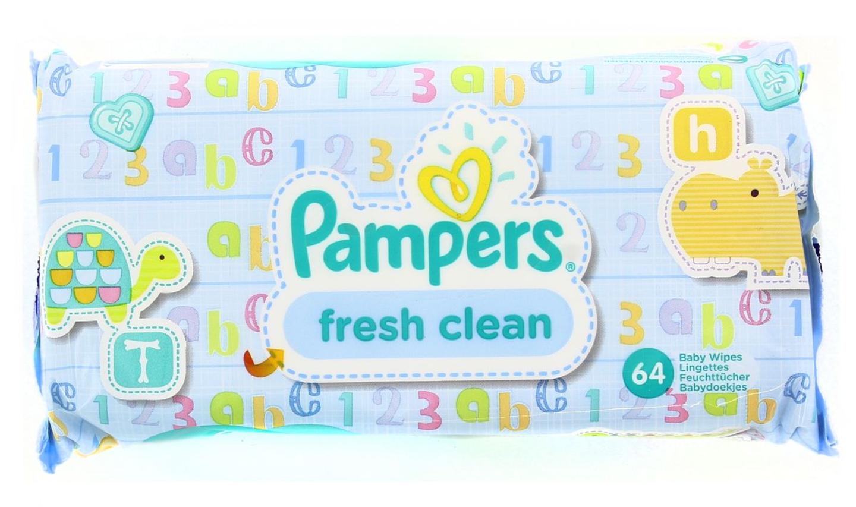 Lot de 3 paquets de 64 lingettes Pampers Fresh Clean ou Natural Clean