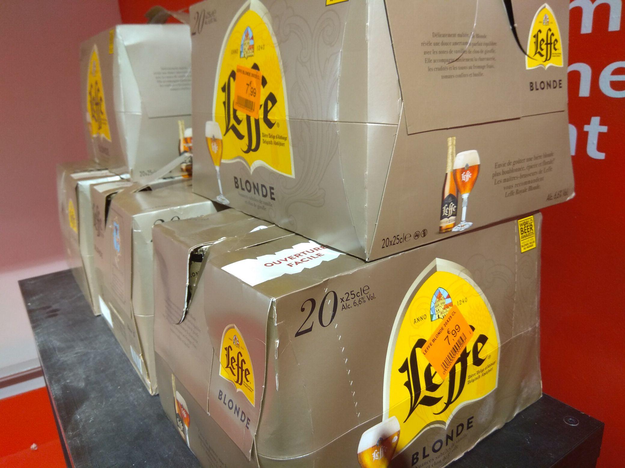 Fin de stock packs de bière en promo - Ex : Pack Leffe blonde 20x25cl (Faubourg St-Denis 75010)