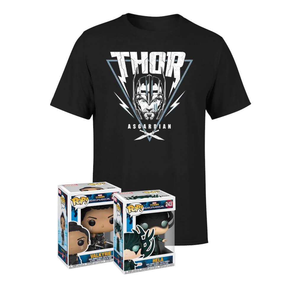 T-Shirt homme Marvel Thor Ragnarok (taille au choix) + Funko Pop Marvel Thor Ragnarok Hela + Funko Pop Marvel Thor Ragnarok Valkyrie
