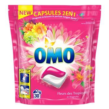 2 Packs de Lessive 2en1 Omo Fleurs des tropiques ou Douceur de fleurs jasmin - 30 caps