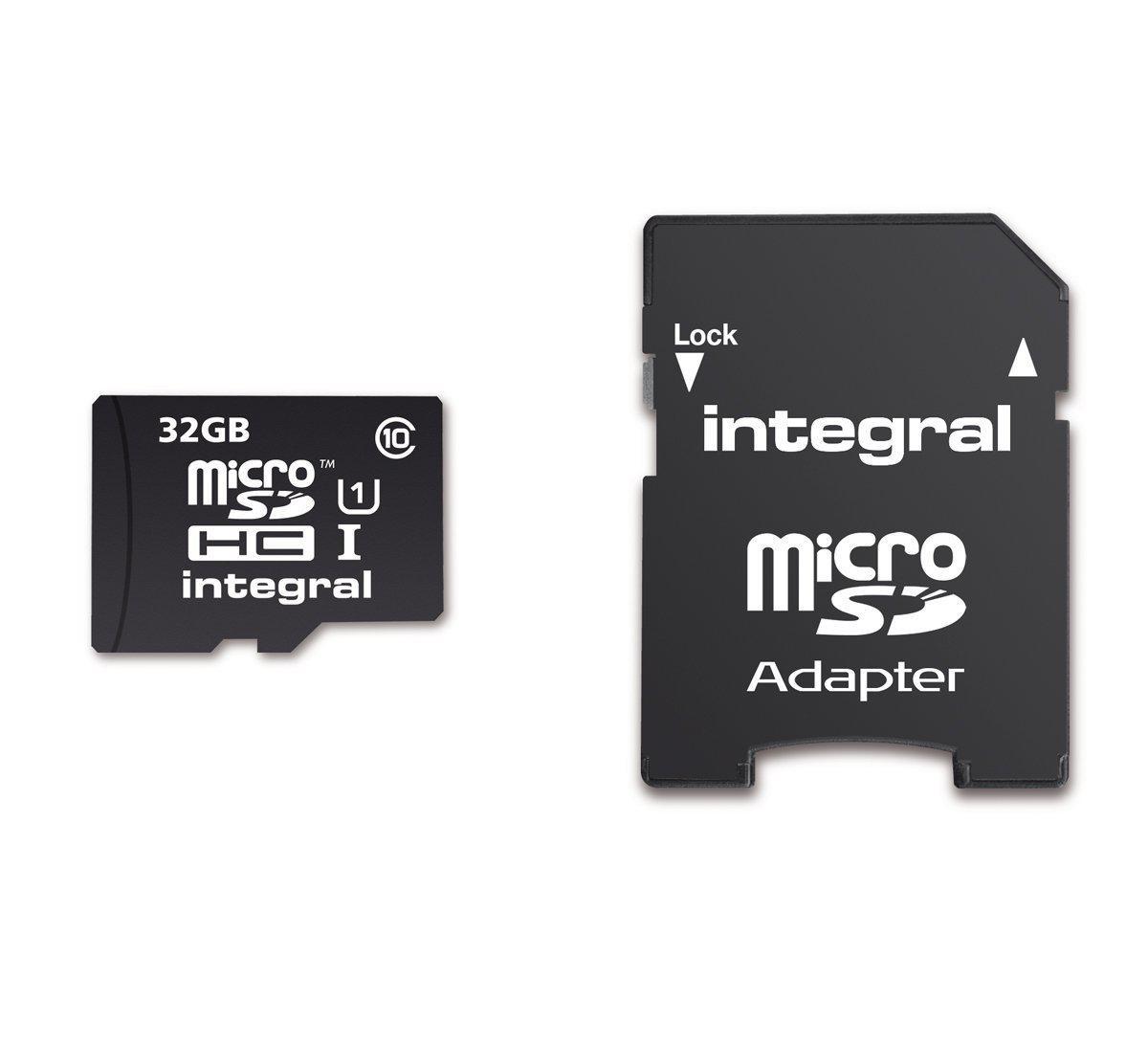 Carte microSDHC Integral UltimaPro Classe 10 40 MB/s avec adpatateur SD -  32 Go