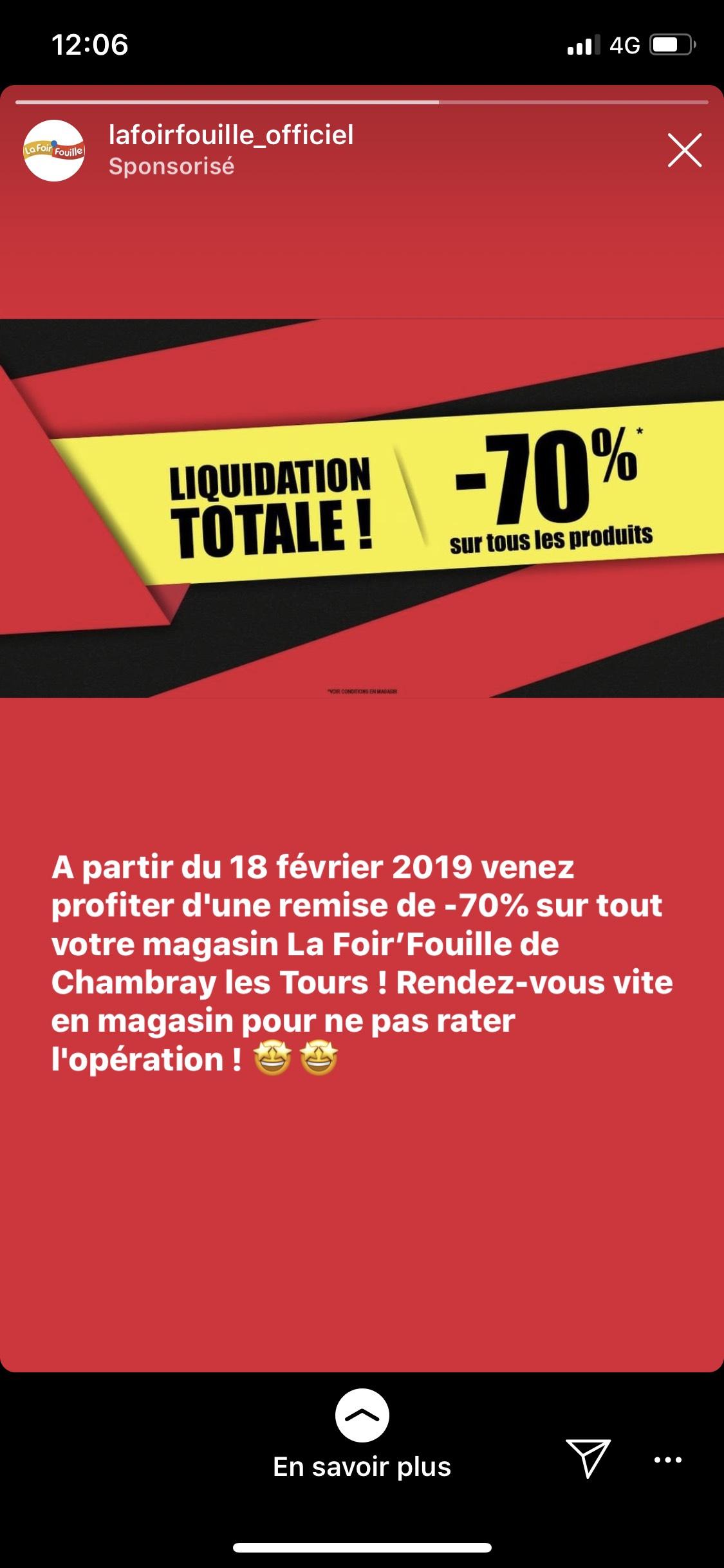 70% de réduction sur tout le magasin - Chambray-lès-Tours (37)