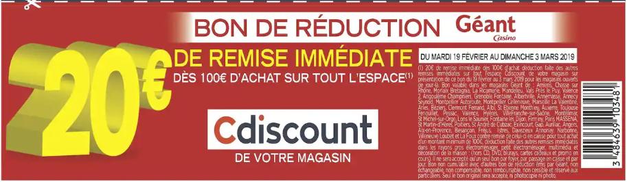 20€ de réduction dès 100€ d'achat sur le rayon Cdiscount - Dans une sélection de magasins