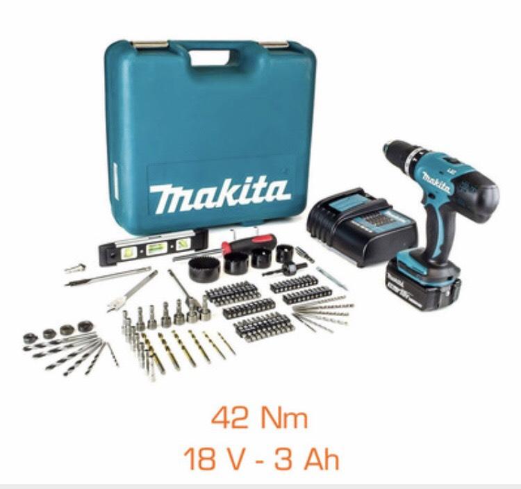 Perceuse à Percussion Makita  DHP453SFTK - 18V, 42Nm + 1 Batterie 3Ah Li-Ion + Chargeur + Coffret + 101 Accessoires