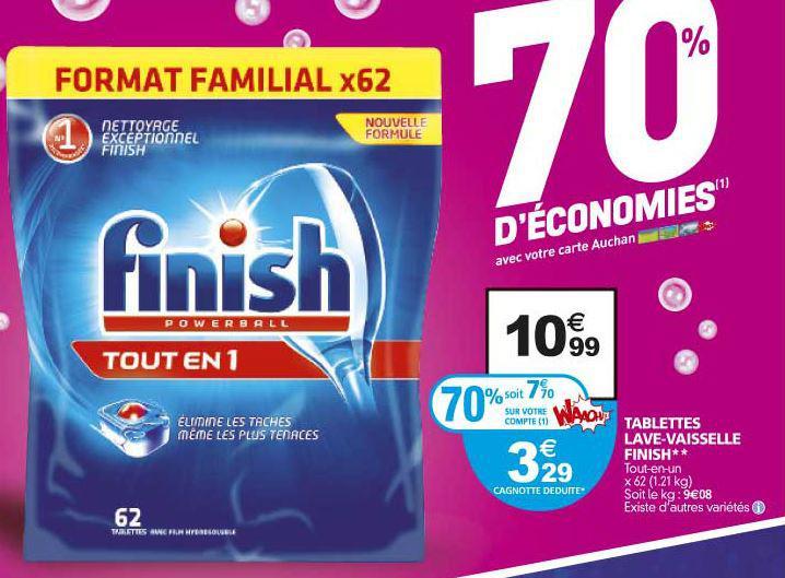 Tablettes de lave vaisselle Finish 62 pastilles ou les classic par 64  et quantum par 45 ou 40 (70% sur carte Waaoh)
