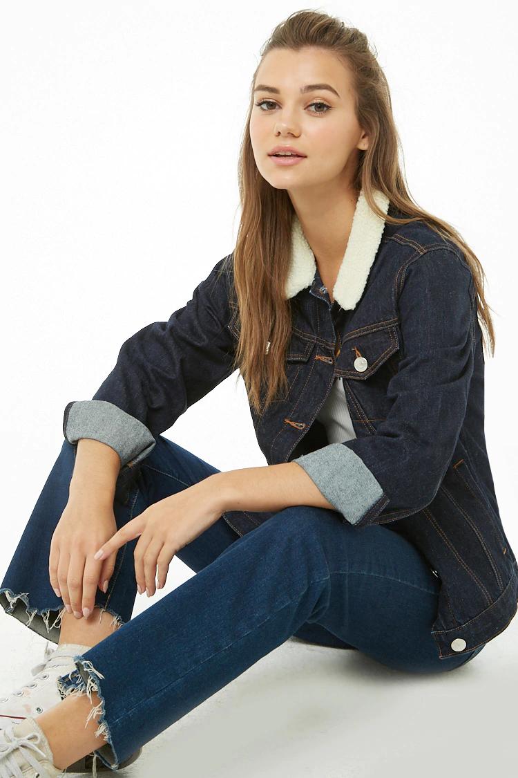 Veste en jean à col en fausse fourrure