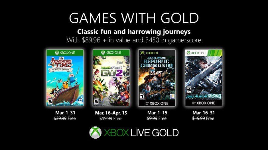 [Gold] Jeu Plants vs. Zombies GW2, Adventure Time, Metal Gear Rising et SW: Republic Commando offerts sur Xbox One / 360 (Dématérialisé)