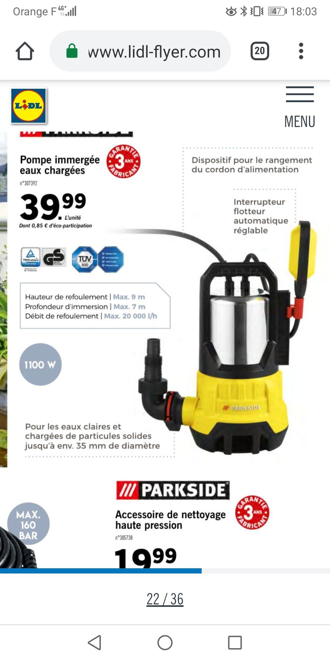 Pompe immergée pour eaux chargéex ParkSide - 1100 W