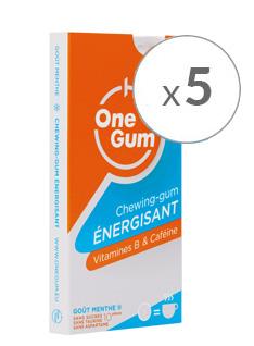5 Paquets OneGum 50 chewing-gums énergisants gratuits (onegum.eu)