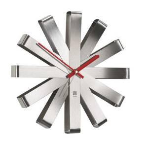 Horloge murale Umbra Ribbon - Acier brossé Nickel - 30cm