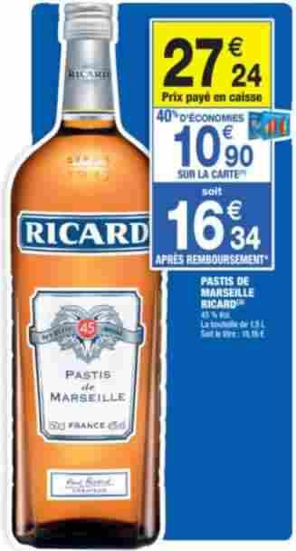 Bouteille de 1,5L de Ricard (10.90€ sur la carte)