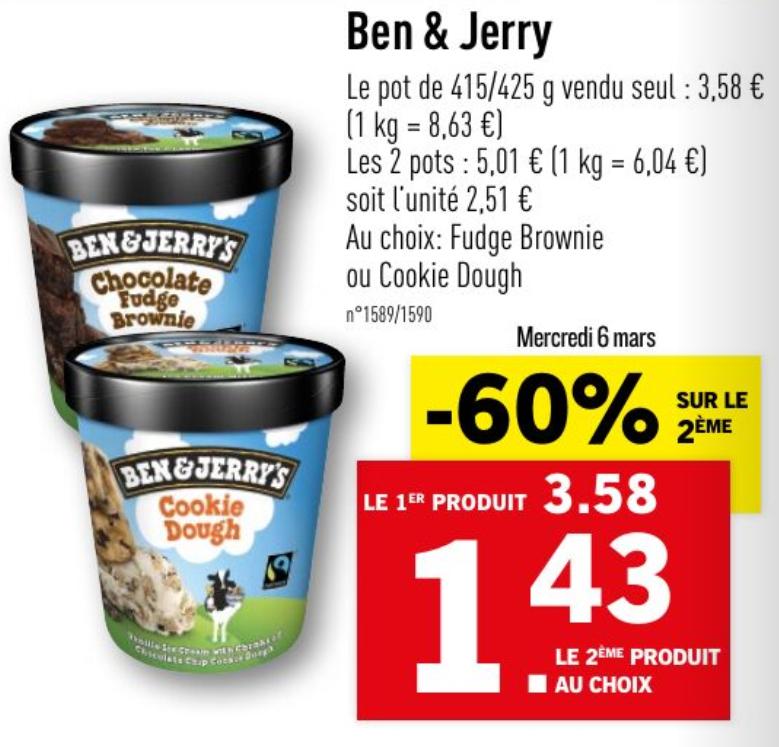 Lot de 2 Pots de Glace Ben & Jerry's (Variétés au choix) - 2 x 415g