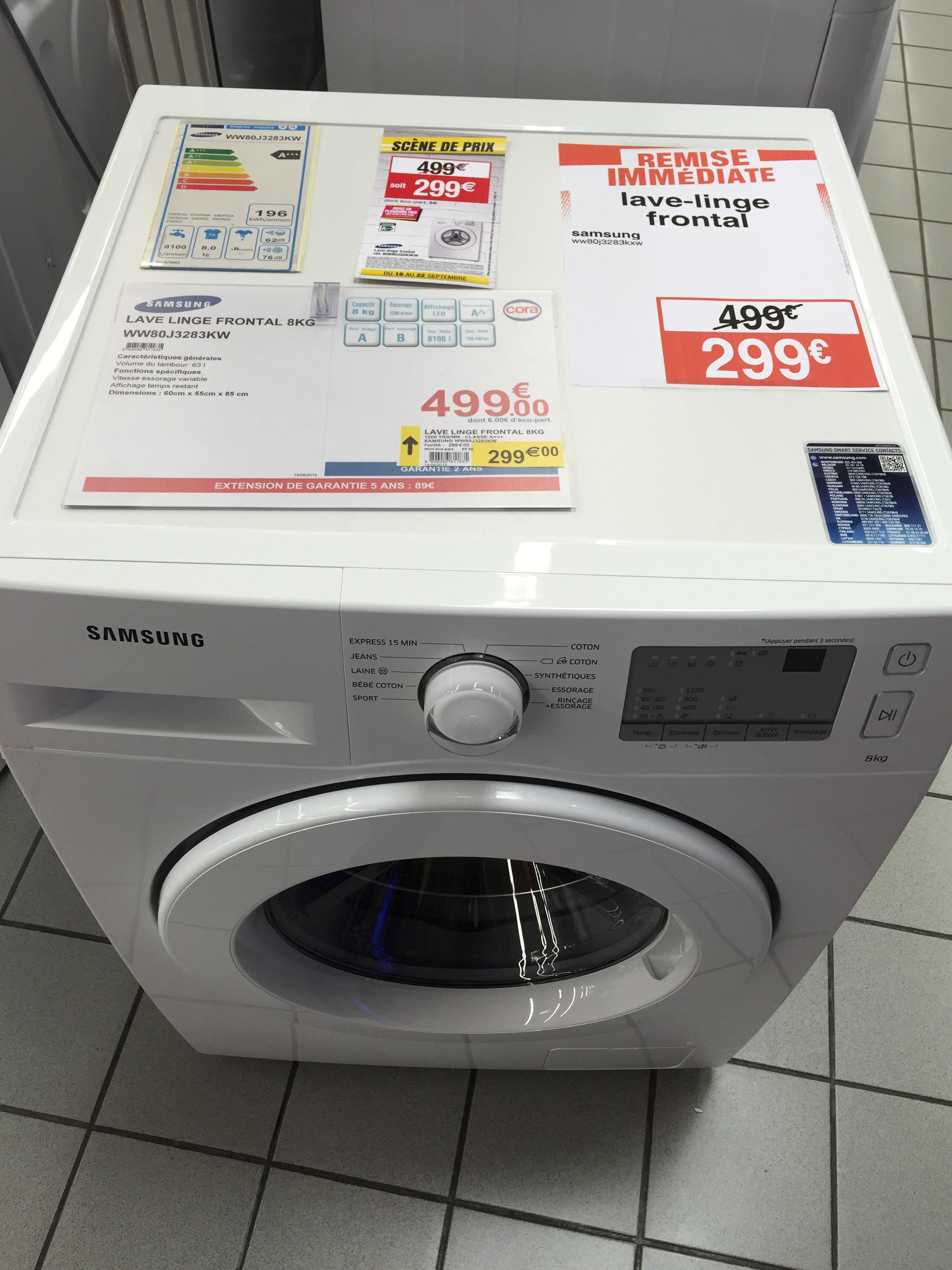 Lave-linge hublot Samsung WW80J3283KW - 8 Kg - A+++