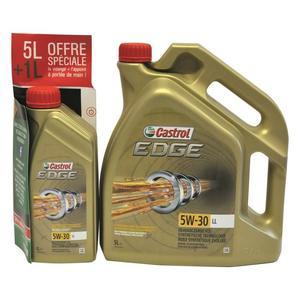 Huile moteur Castrol Edge - 5W-30 LL 5 Litres + 1 Litre