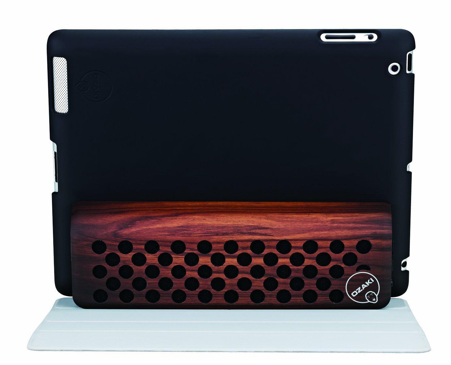 Enceintes Bluetooth Ozaki oMusic Powow + Housse pour Ipad 3 Wood