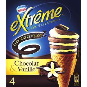 Cônes Nestlé Extrême craquant (vanille chocolat ou vanille caramel)