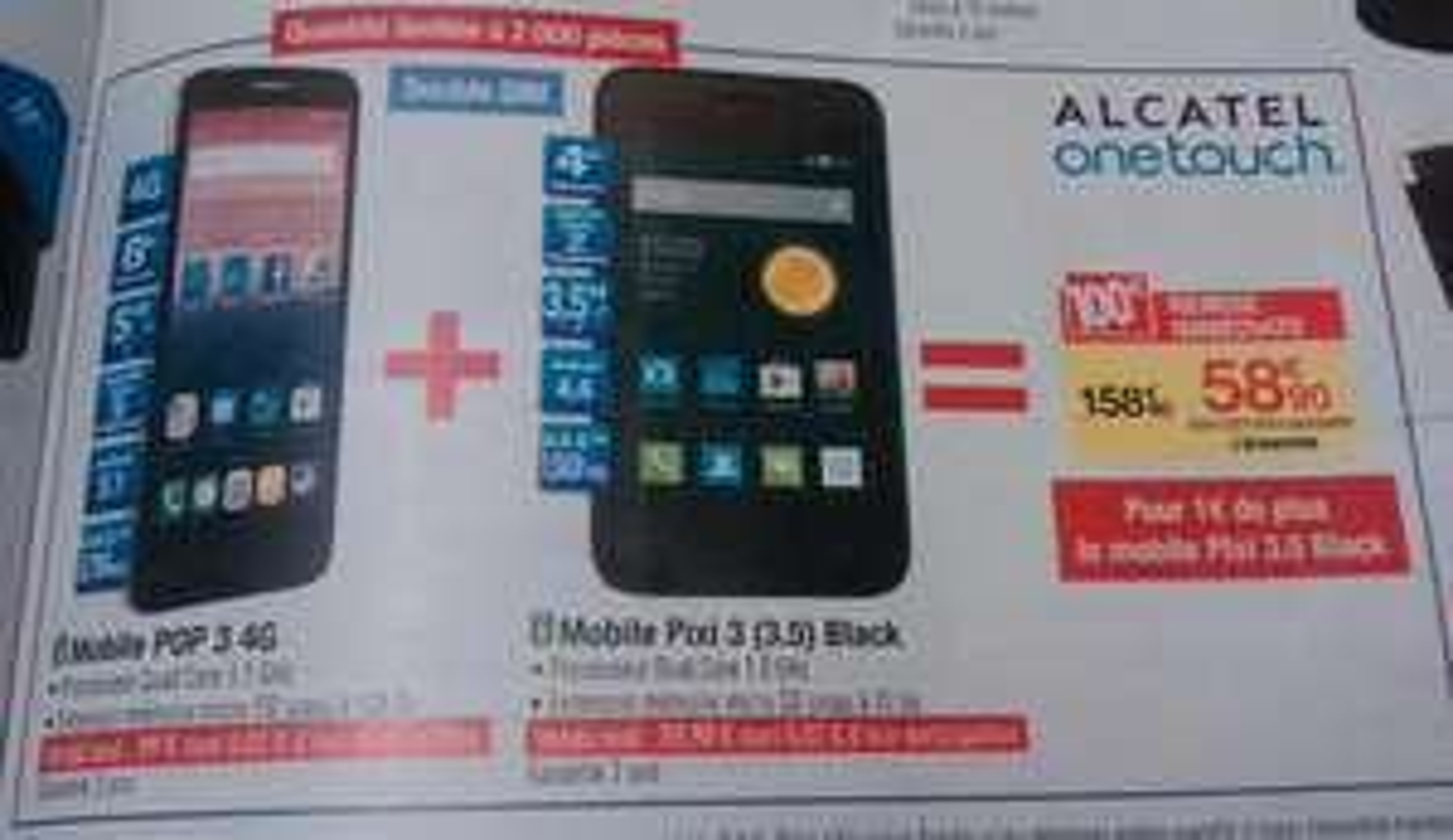 "Smartphone 5"" Alcatel Onetouch Pop 3 4G + Smartphone Alcatel 3,5"" Pixi 3"