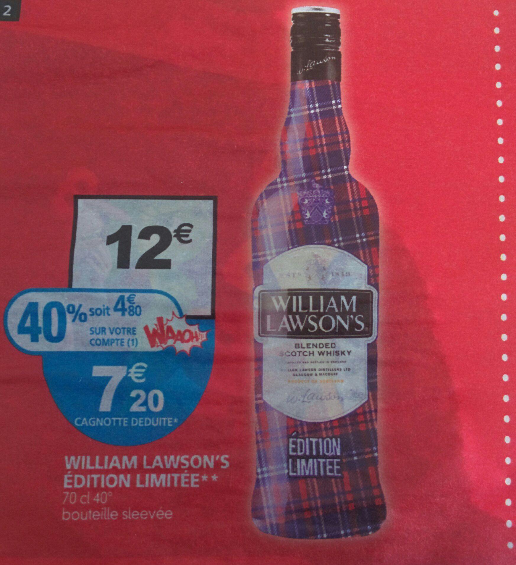 Bouteille de Scotch William Lawson's - 70cl - Édition limitée (via 4.80€ sur la carte Waaoh)