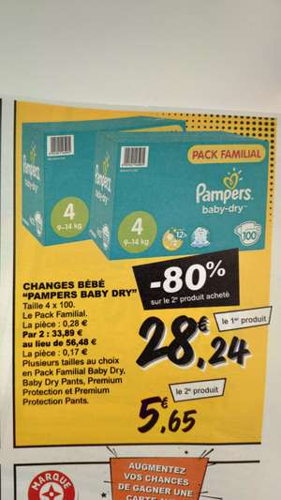 Lot de 2 boites de couches Pampers Baby-Dry - Différente tailles et modèles