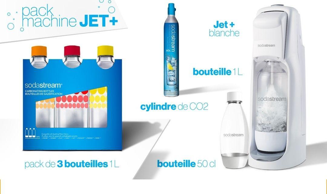 Pack Machine à eau gazéifiée Sodastream Jet + 3 bouteilles de 1l