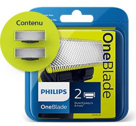 Lot de 2 lames Philips OneBlade et rasoir oneblade