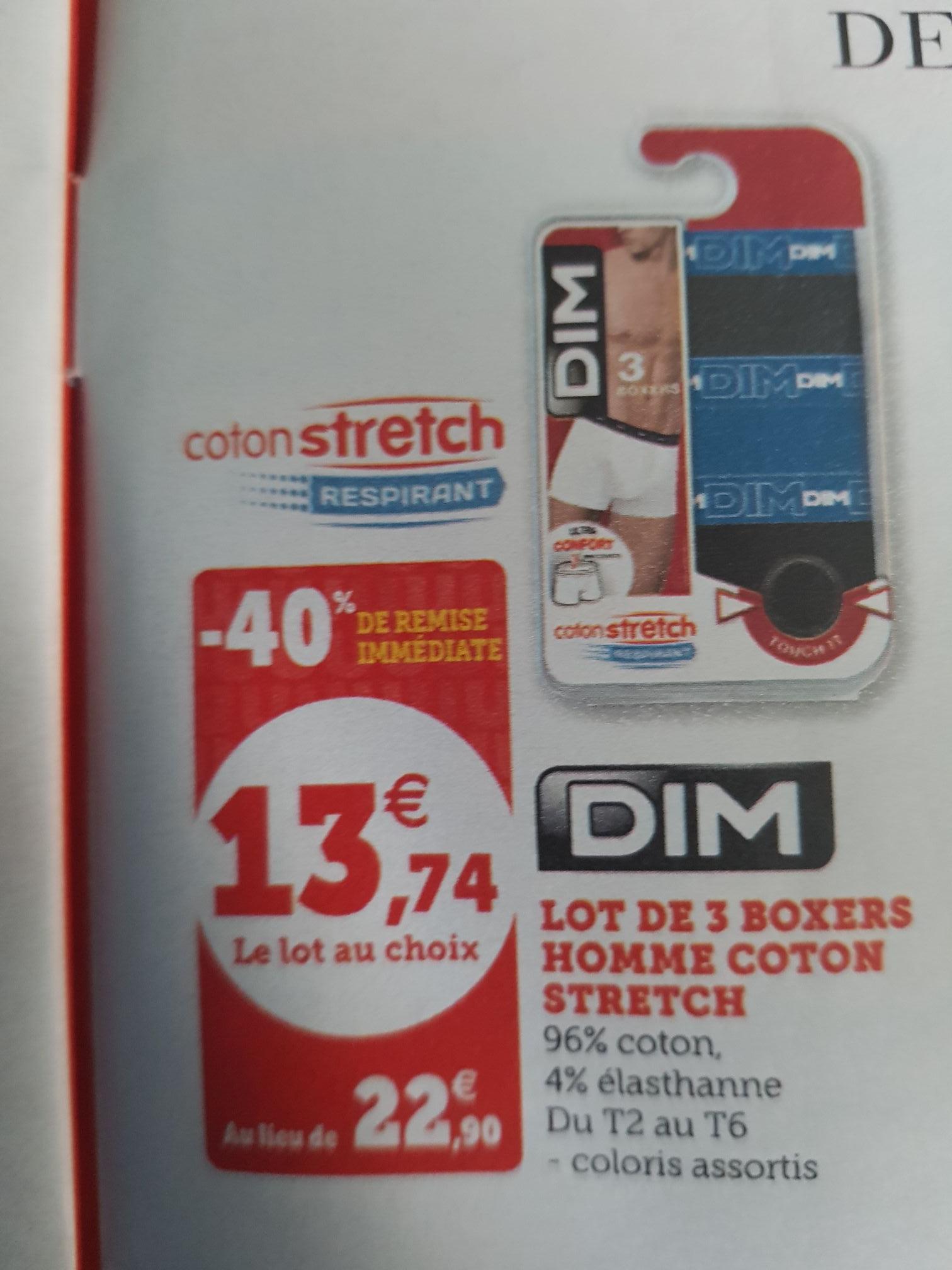 Lot de 3 boxers Dim Coton Stretch - différents coloris (du 2 au 6)