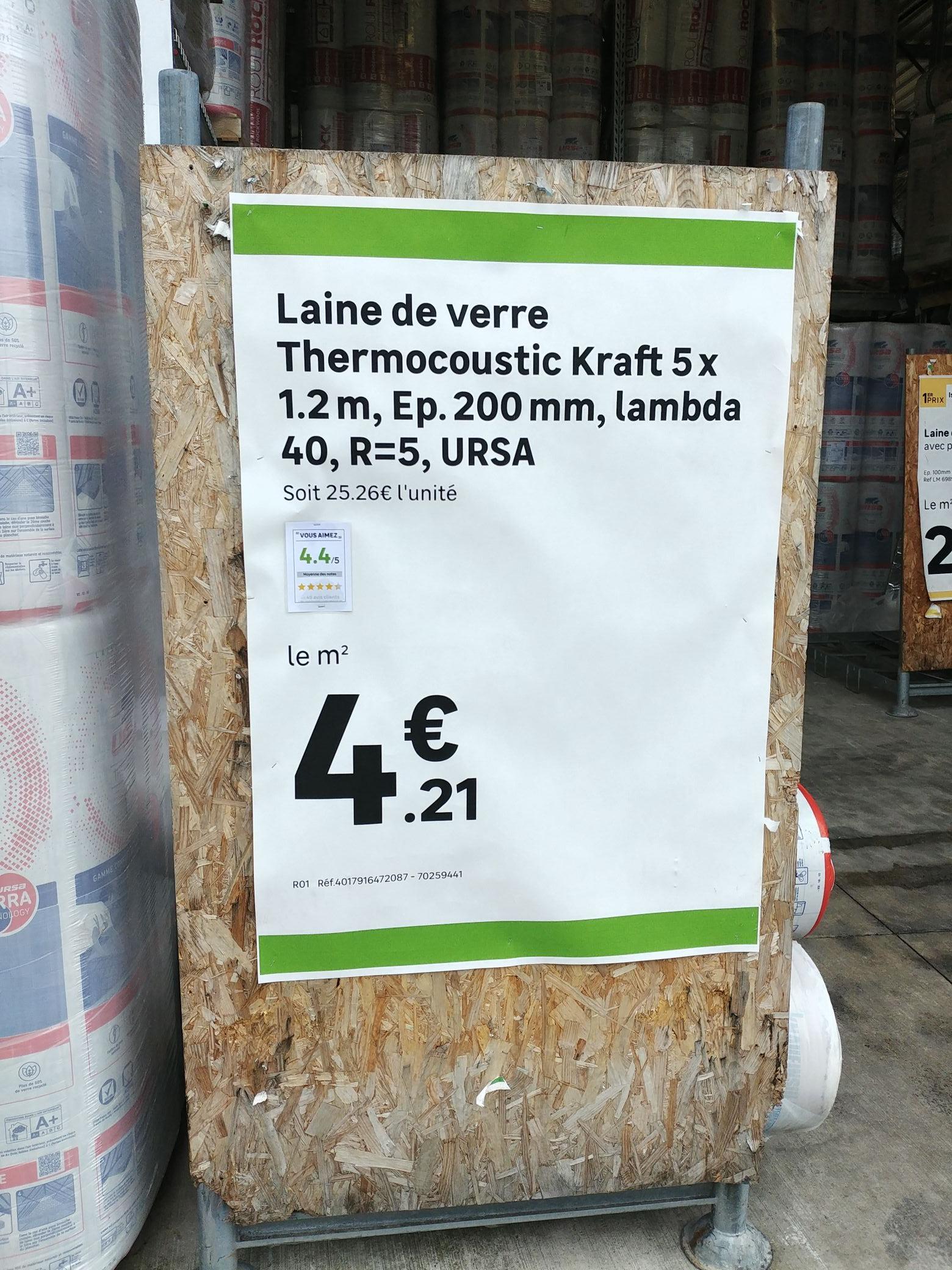 Laine de verre Thermocoustic Kraft Ursa - (5x1.2 m, épaisseur de 200 mm) - Andelnans (90)
