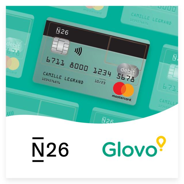 50€ de crédits offerts sur Glovo pour l'ouverture d'un compte N26 - Paris (75)