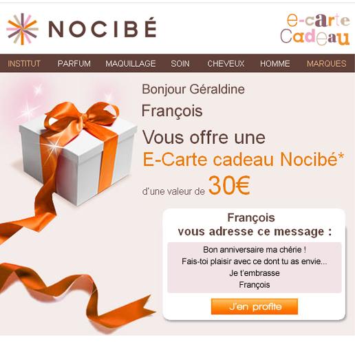 Une E-carte cadeau de 60€ min. achetée = Une autre de 10€ offerte