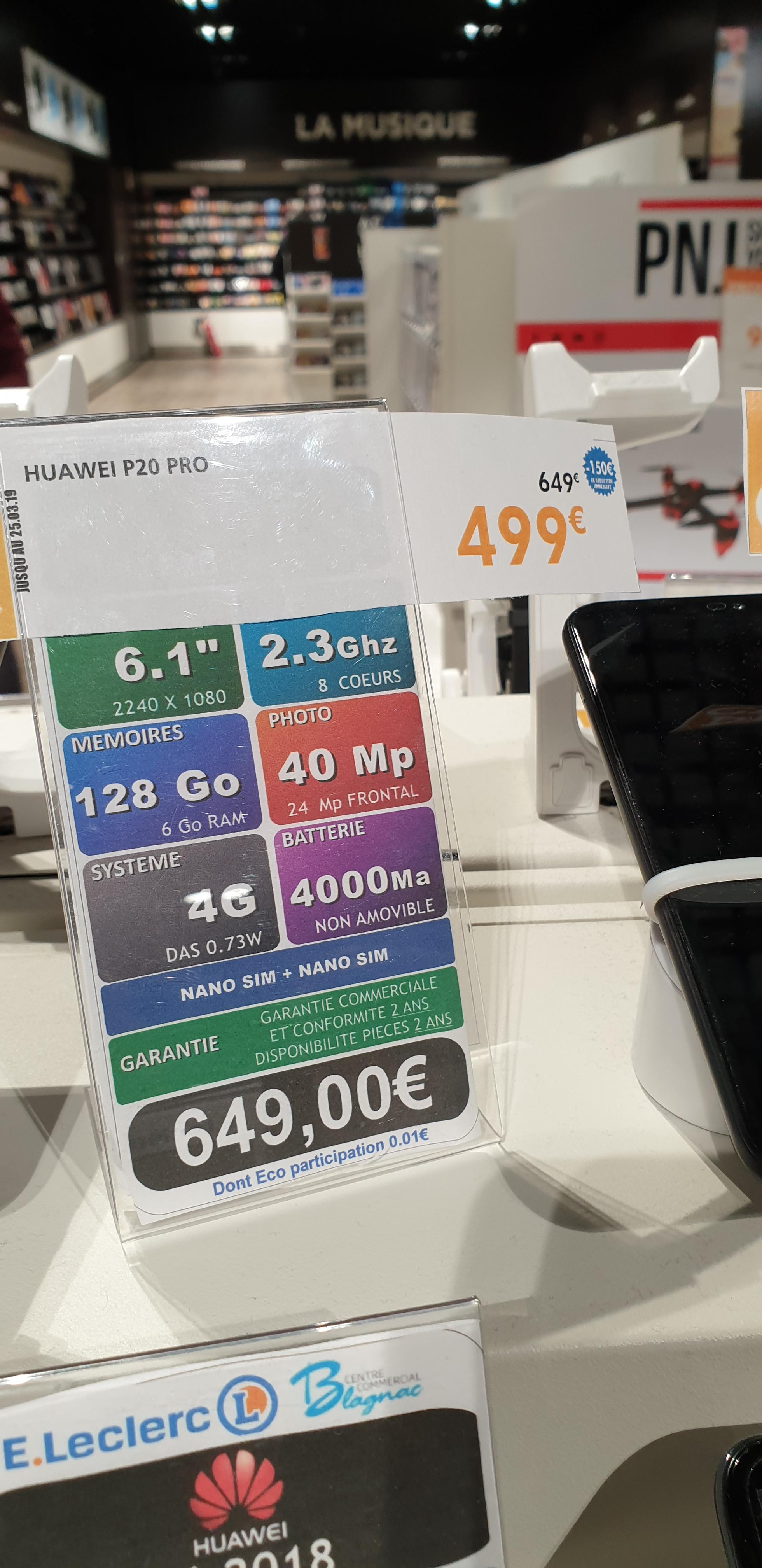 "Smartphone 6.1"" Huawei P20 Pro - full HD+, Kirin 970, 6 Go de RAM, 128 Go (Blagnac 31)"