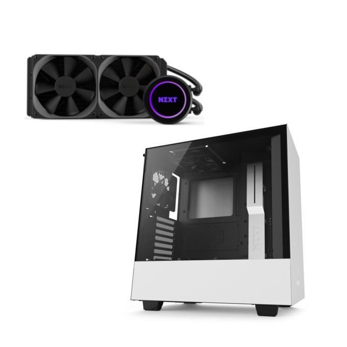 Pack NZXT : Boitier PC H500 Blanc + Watercooling Kraken X52 RGB