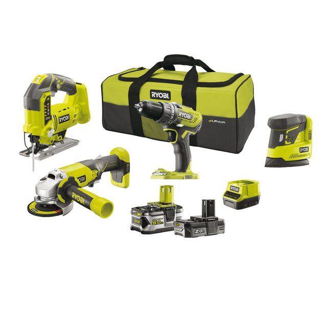 Pack 4 outils sans fil Ryobi 18V : Perceuse-visseuse + meuleuse d'angle 115mm + scie sauteuse + ponceuse + 2 batteries 5Ah/2Ah + sac